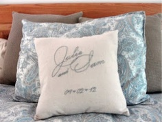 The Pursuit of Happiness: Embroidered Wedding Gift Pillow