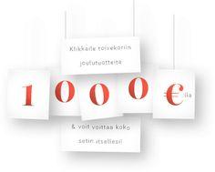 Klikkaile toivekoriin joulutuotteita ja voit voittaa koko setin itsellesi, arvo 1000 euroa. Kilpailu päättyy 23.12.2016. http://www.joulukori.fi/