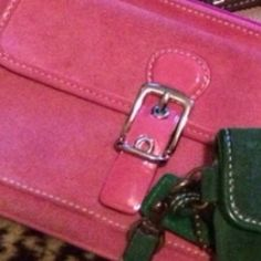 FINAL SALESuede Pink Authentic Coach Wristlet Pre-Loved In great condition Coach Bags Clutches & Wristlets