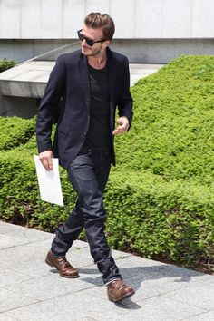 Suit jacket tee jeans and a great pair of boots
