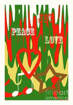 Colorful abstract holiday art with text Joy, Peace Love. Holiday Fun, Holiday Cards, Music Symbols, Create Your Own Card, Love Holidays, Personalized Invitations, Colorful Drawings, Custom Greeting Cards, All Art