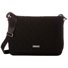 Vera Bradley Laptop Messenger (Classic Black) Messenger Bags (150 NZD) ❤ liked on Polyvore featuring bags, messenger bags, flap messenger bag, courier bag, laptop bag, cotton messenger bag and quilted messenger bag