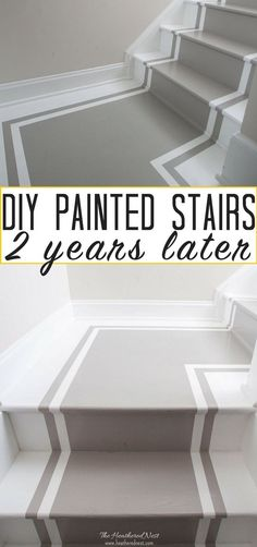 Painted stairs 2 years later - an update! How durable are DIY painted stairs? Here's your answer. Pros and Cons of Painted Stairs: How do they hold up over the years? Painted Staircases, Painted Stairs, Spiral Staircases, Painted Floors, Design Diy, Design Ideas, Stair Renovation, Staircase Remodel, Staircase Makeover