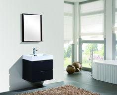 """Bliss 24"""" Black Wall Mount Bathroom Vanity - The Vanity Store Inc."""