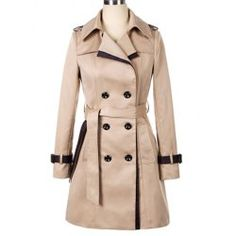 Double-breasted Back Strappy Beam Waist Long Edition Polyester Color Matching Trench Coat For Women