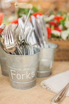 Triple Buckets with Handle for utensils / http://www.deerpearlflowers.com/rustic-buckets-tubs-wedding-ideas/