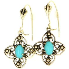 Pre-Owned Vintage 14 Karat Yellow Gold Turquoise Drop Dangle Earrings... (390 CAD) ❤ liked on Polyvore featuring jewelry, earrings, no color, 14k gold earrings, turquoise gold earrings, long gold earrings, gold drop earrings and 14k earrings
