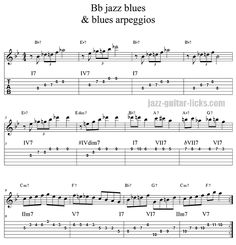 Blues jazz guitar arpeggios on blues jazz progression