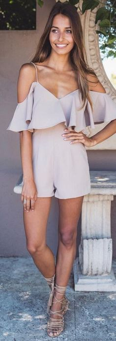 Summer Loose Flounced Wrap Top Cami Romper Beach Playsuit - S Summer Outfits, Casual Outfits, Cute Outfits, Fashion Outfits, Womens Fashion, Fashion Trends, Outfits 2016, Beach Outfits, Beach Attire