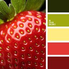 алый, зеленый, клубничный цвет, красный, летние цвета, насыщенный зеленый, оттенки зеленого, салатовый, светло-желтый, теплые оттенки для лета, цвет зелени, цвет клубники, яркий желтый, яркий красный, яркий салатовый.
