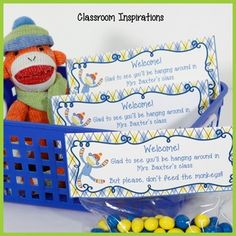 Welcome to Classroom Inspirations!This cute free gift bag topper is from our Sock Monkey collection in green, blue, yellow and orange.  Students and parents will love finding a special gift from you on their desks at Open House or the first day of school.