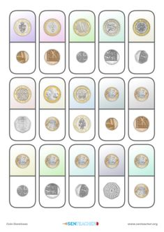 Custom worksheets, teaching resources, printable games and manipulatives. Money Activities, Teaching Resources, Printable Worksheets, Printables, Math Websites, Math Card Games, Addition Worksheets, Mathematics, Coins