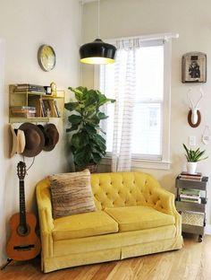Canapé velours jaune