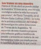 """El diario Clarín de Argentina recomienda visitar """"El tren se va"""" en el Museo Evita de la ciudad de Buenos Aires."""