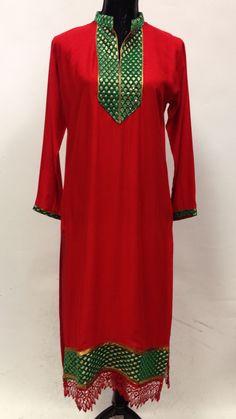 Rayon Embroidery Kurta - Red