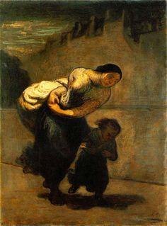 Honoré Daumier, De last (De wasvrouw), 1850 - 1853, olieverf op doek, 130 x 98 cm, collectie Gerstenberg/Scharf, Berlijn