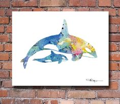 Orca and Baby Art Print  Abstract Watercolor by 1GalleryAbove, $12.50