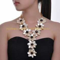 Fashion Jewelry White Resin Black Crystal Flower Big Choker Bib Pendant Necklace #Unbranded #Pendant