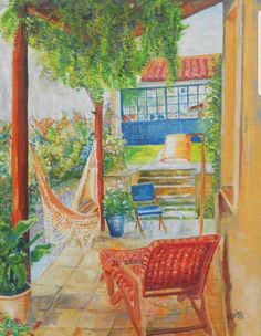 #Terrasse  #Gemälde #hängematte #Entspannung #Kunst #ölmalerei Create Yourself, Etsy Seller, Creative, Painting, Art, Terrace, Painted Canvas, Painting Art, Paintings