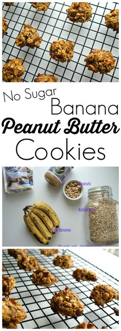 """These Banana Peanut Butter cookies are made with NO sugar, NO oil, and NO flour.  Yet you'll find yourself wanting more because they are SO GOOD.  Love it when I can say """"Yes!"""" when my kids ask to have a cookie for snack.  :) #cleaneating #recipe"""