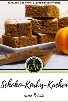 #Rezept für #Kürbiskuchen vom #Blech mit viel #Schokolade - eine tolle #Nachspeise - inklusive #Buchvorstellung #Kürbis und #Kernöl Cupcakes, Seed Oil, Salzburg, Seeds, Pie, Pumpkin, Breakfast, Desserts, Gardens