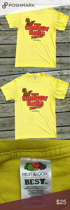 The Comedy Barn Theater T shirt Great condition!!! The Comedy Barn yellow T shirt size small🐤🐤🐤🐤🐥🐥🐥🐥🌻🌻🌻🌻🌻 super cute!!! Fruit of the Loom Tops Tees - Short Sleeve