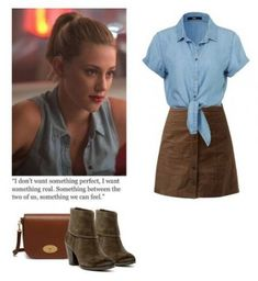 A fashion look from February 2017 featuring blue shirt, flared skirts and bootie boots. Browse and shop related looks. Betty Cooper Style, Betty Cooper Outfits, Betty Cooper Riverdale, Riverdale Betty, Tv Show Outfits, Fandom Outfits, Summer Outfits, Casual Outfits, Cute Outfits