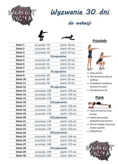 Wyzwanie 30 dni do wakacji. Trening, zdrowie, motywacja, wyzwanie. All Body Workout, Plank Workout, Fitness Planner, 30 Day Challenge, Wellness Tips, How To Stay Motivated, Excercise, Personal Trainer, Fitness Inspiration
