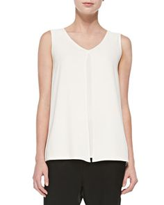 Luxe Crepe V-Neck Shell, Cream by St. John Collection at Neiman Marcus.