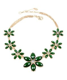 Loving this Evergreen & Gold Crystal Janie Bib Necklace on #zulily! #zulilyfinds