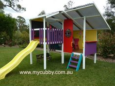 Such a bright and fun cubby, perfect in any backyard. We custom build to suit. The coolest kids cubby houses in Australia #MyCubby #Cubby #Playhouse #KidsHouse #Slide #Shade #Backyard #Playground #KidsPresents #Christmas #family #FamilyChristmas