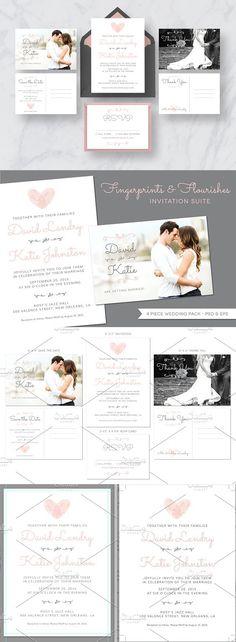 Fingerprint Wedding Invitation Suite. Invitation Templates. $15.00