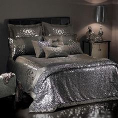 In Bed with Kylie Minogue  Bedspread and silver sequin throw in Kylie Minogue's Kylie At Home collection