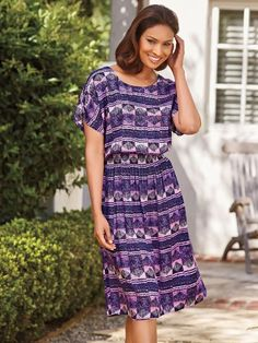 Challis Smocked Waist Dress - <p> 	This simply flattering pullover style features a softly rounded neckline, pretty dolman sleeves and a shaping smocked waist.  Up-to-date pr