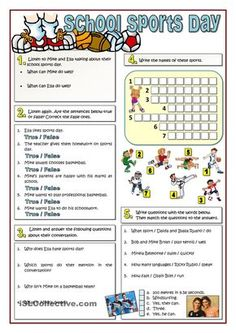 Here you are five exercises to work with your students. The worksheet includes a listening task (exercises a vocabulary exercise and finally a grammar. Vocabulary Exercises, Vocabulary Worksheets, English Vocabulary, Printable Worksheets, Vocabulary Ideas, Sports Day, School Sports, Teaching English, Learn English