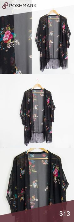 🌹Black Sheer Floral Print Kimono Shawl w/ Fringe Size: Fits like a Large  Brand: Tag got cut off Material: Polyester Condition: Good, minor wash wear. NO major flaws such as holes/stains Sweaters Cardigans