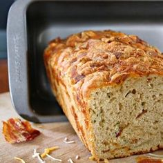 Bacon Cheddar Beer Bread with Fresh Jalapenos