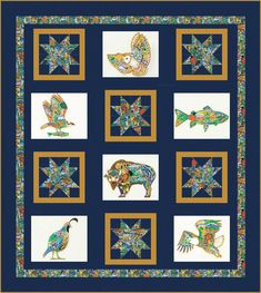 Animal Spirits is a collection full of a rainbow of colors representing the animal spirits in a lively new way. Hand Quilting Patterns, Star Patterns, Quilting Projects, Quilting Designs, Butterfly Quilt Pattern, Wildlife Quilts, Churn Dash Quilt, Owl Fabric, Panel Quilts
