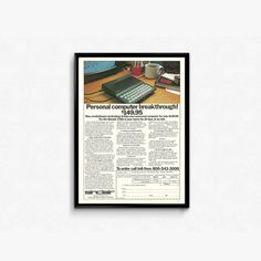 Geeky Gift Ideas  Personal Computer Sinclair ZX81 Basic Computer Ad  Frameable Tech Ad  80s Computer Graphics  Great Gift Ideas for Him by RetroPapers