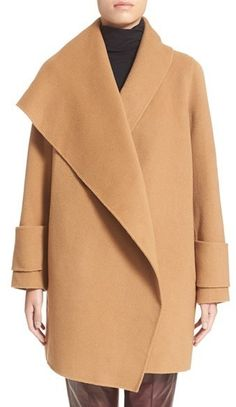 $675, Vince Drape Front Wool Coat. Sold by Nordstrom. Click for more info: https://lookastic.com/women/shop_items/366099/redirect