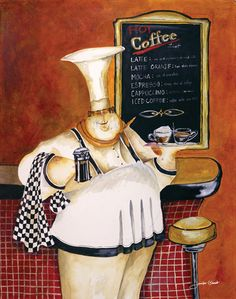 Giclee Print: Mario's Mocha Java by Jennifer Garant : Chef Pictures, Kitchen Pictures, Fat Chef Kitchen Decor, Kitchen Ideas, Cappuccino Coffee, Coffee Aroma, Coffee Coffee, Coffee Break, Coffee Time