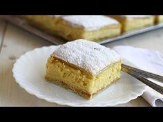 Cremșnit, crempită, cremeș de casă - rețetă video. Prăjitura cremșnit ca pe vremuri, cu aluat foietaj cu unt, făcut în casă și cremă de vanilie chiboust. Cum se face un cremeș clasic, rețetă video pas cu pas. Crempită de casă cu aluat foietaj cu unt și cremă de vanilie, rețetă video. Romanian Desserts, Romanian Food, Romanian Recipes, Facebook Recipe, Pastry And Bakery, Cornbread, Vanilla Cake, Cheesecake, Food And Drink