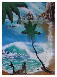 Artwork by MasterSpray Ronnie or Haklay on display at the Circuito Cultural Marina Cabo San Lucas.