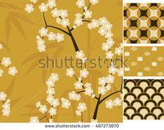 Japanese seamless patterns set with bamboo, sakura and traditional ornaments…
