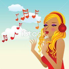 Note de musique, Chanter, Saint Valentin, Musique, Siffler Illustration vectorielle libre de droits