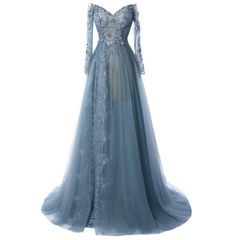Grey Evening Dresses, Long Sleeve Evening Dresses, Elegant Prom Dresses, Prom Dresses Long With Sleeves, A Line Prom Dresses, Tulle Prom Dress, Ball Gown Dresses, Prom Gowns, Tulle Lace