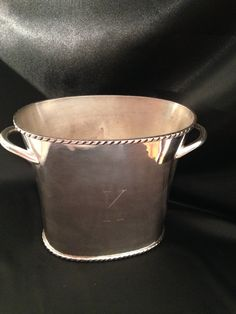 Silver Plated Ice Bucket,Pottery Barn Rope Twist Edge two section ice…
