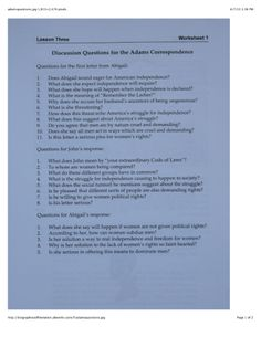 Discussion Questions for the Adams Correspondence Wat Do, American History, Worksheets, Revolution, Lettering, This Or That Questions, Us History, Drawing Letters, Literacy Centers