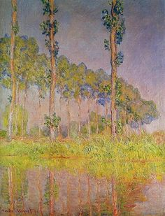 """https://www.facebook.com/Claude.Monet.MiaFeigelson.Gallery  """"Three trees, spring"""" (1891) By Claude Monet, from Paris (1840 - 1926) - oil on canvas; 92 x 73 cm - [Impressionism] Place of creation: near Giverny, France [Giverny is located 75 km west from Paris] Private Collection"""