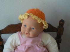 Hand Crocheted Orange Baby Hat With Yellow Ruffle | hollyknittercreations - Crochet on ArtFire